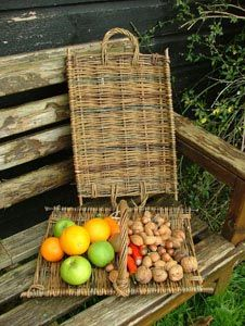 Flat tray or gathering basket, with handle variations Norfolk Basket Co