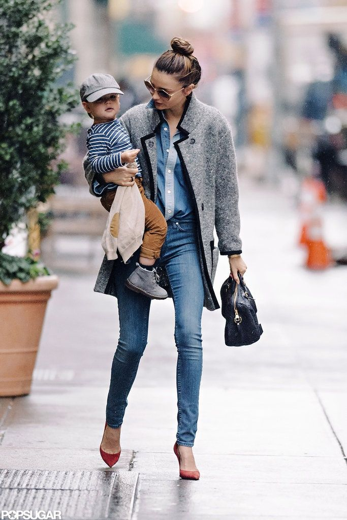 Miranda Kerr wearing denim on denim + chic red heels