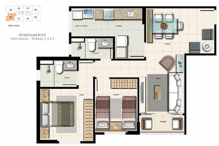 projeto apartamento 80 m2 - Pesquisa Google PLANTAS BAIXAS - plan maison plain pied 80m2