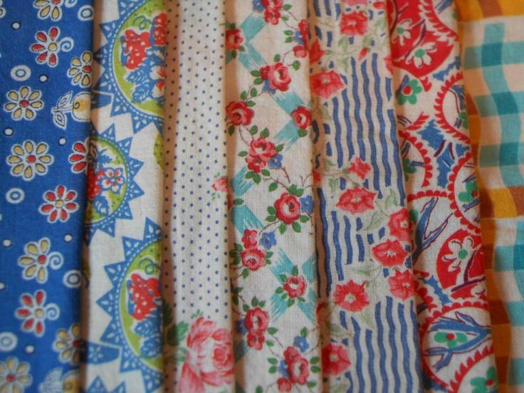 Vintage Feed Sack Fabric Lot 7 Designs. $24.00, via Etsy.