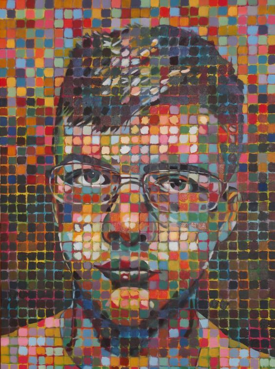 chuck_close_self_portrait_by_donnylurch  I'm going to try this with underpainting of several squares in 1 colour,  then do the top dots to show value.