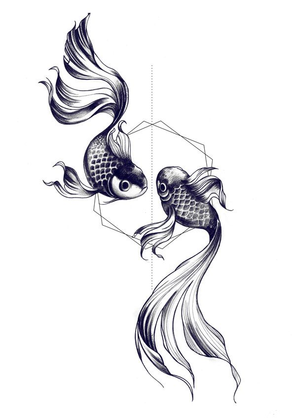 Fishes drawing by Miss Sita @ One O Nine barcelona I love the geometric shape with a classic tattoo idea
