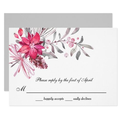 Winter Berries Red and Silver Wedding Reply Card