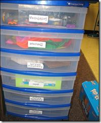Our stash of reading manipulatives: beach balls (for comprehension, not play!!), magnetic letters, magnetic trays, Wikki Sticks, highlighters, sticky notes (of course!), puzzle pieces, stickers/awards, good readers strategy cards, pointers, visualizing manipulatives…wow…lots!