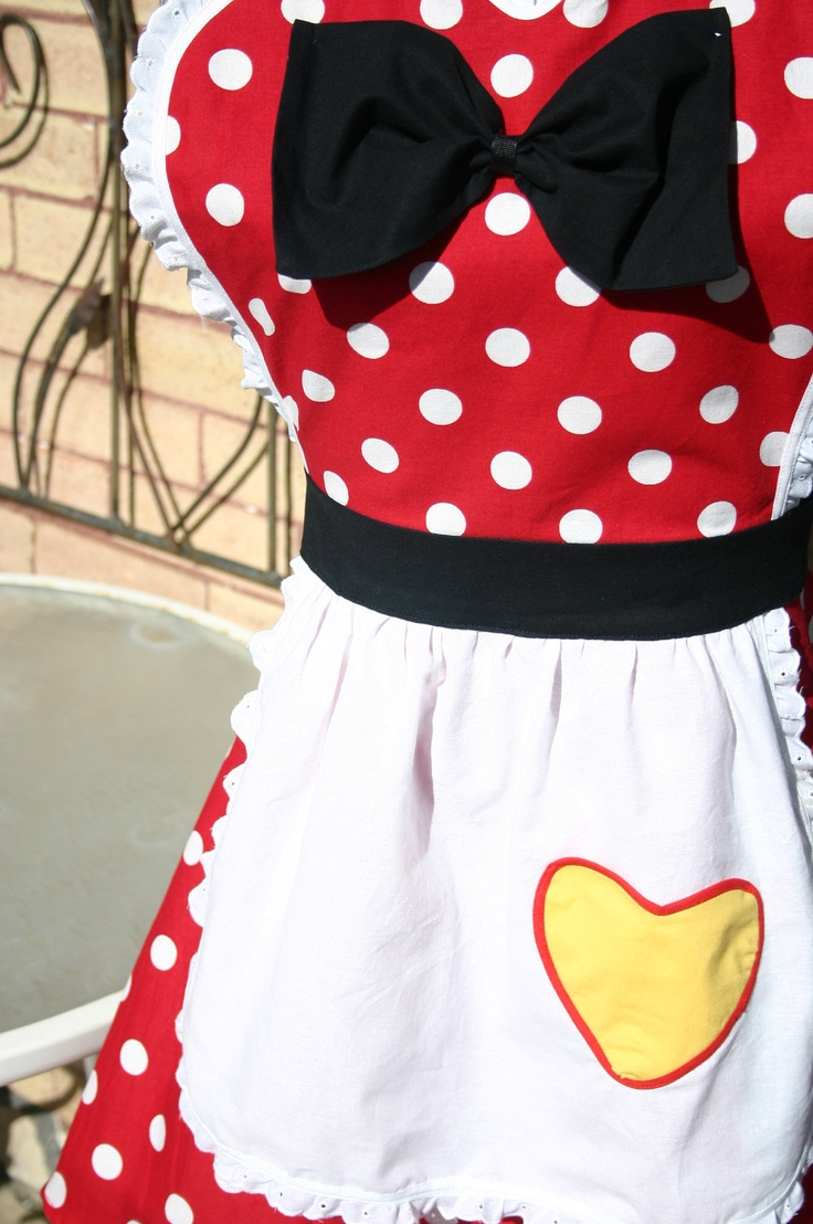 Snow white apron etsy - Minnie Mouse Costume Full Apron For Women Plus Size Large Disney Inspired Red Polka