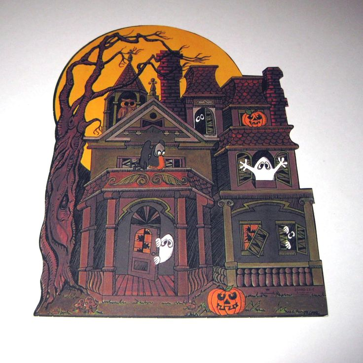 vintage die cut hallmark halloween decoration of haunted house 695 via etsy - Hallmark Halloween Decorations