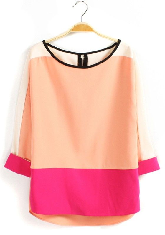 Multicolor Color Block Patchwork Zipper Loose Chiffon Blouse