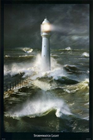 Lighthouse and Stormy Sea