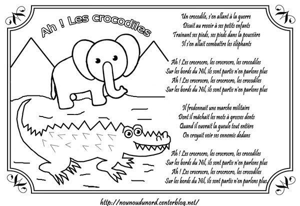 comptine ah les crocodiles illustr 233 e par nounoudunord imprimer le coloriage cliquez acrobat