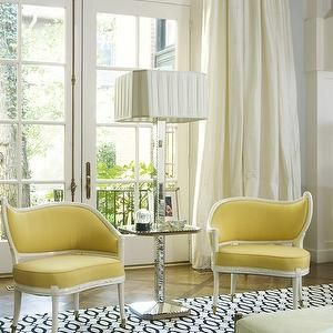Jan Showers - living rooms - yellow chairs, yellow accent chair, french doors, living room french doors, french doors in living room, ivory curtains, ivory drapes, ivory silk curtains, ivory silk drapes, ivory silk dupioni curtains, ivory silk dupioni drapes, mirrored floor lamp, mirrored floor lamp table, black and white rug, pleated lamp shade, square lamp shade,
