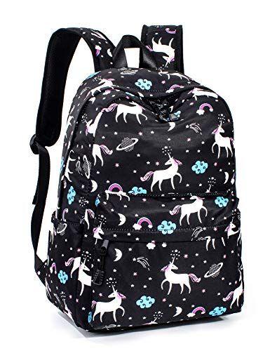 Leaper Unicorn Backpack for Girls Laptop Backpack School Bag Travel Daypack  Bookbag Black  3fccd046a54a0