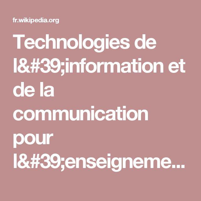Technologies de l'information et de la communication pour l'enseignement — Wikipédia