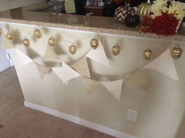 Decorative Acorn LED Lights U0026 Burlap Chevron Banner Hanging From My Bar!  Acorn Lights