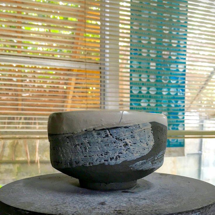 Black and white matchawan, traditional Japanese tea bowl.