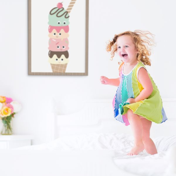 I scream.  You scream.  We all scream for ice cream. Our fun Super Scoops print adds a pop of colour to any room.
