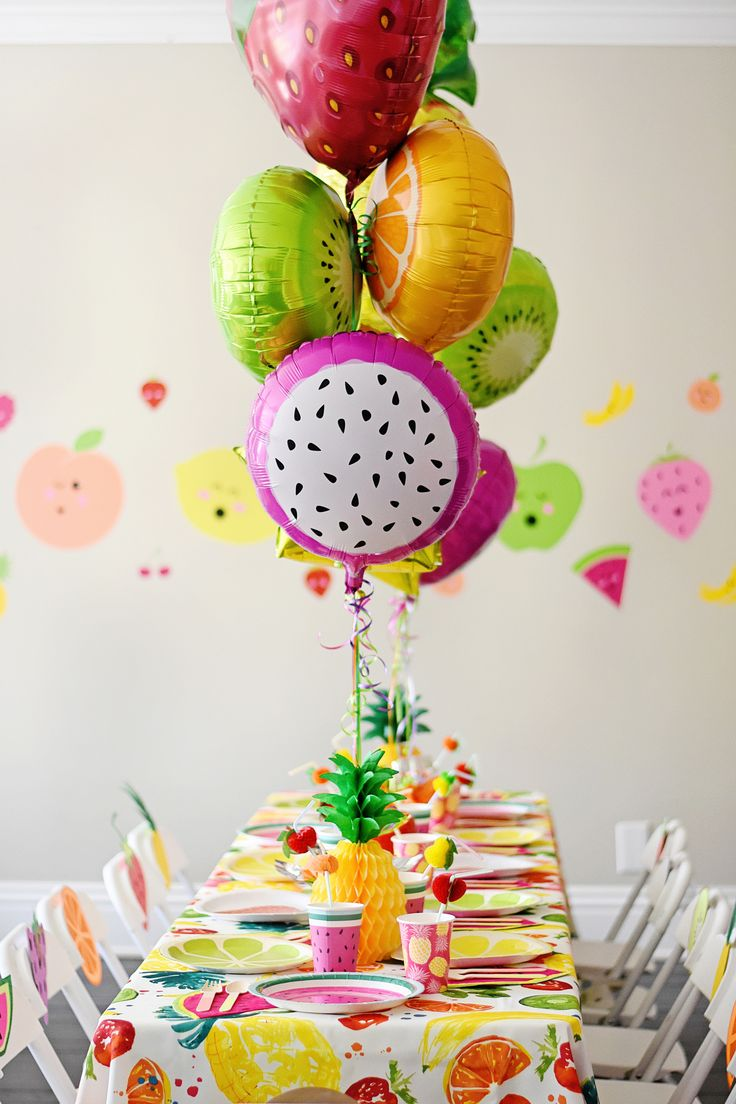Tutti Frutti Birthday Party Kids Party Tables and Balloons - Project Nursery