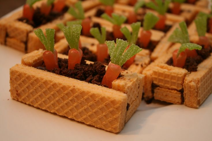 Carrot garden beds what a cute easter dessert using u for Quick and easy easter treats recipes
