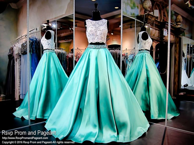 White/Mint Two Piece Ball Gown-Pockets-Lace Crop Top-116RA0E10010