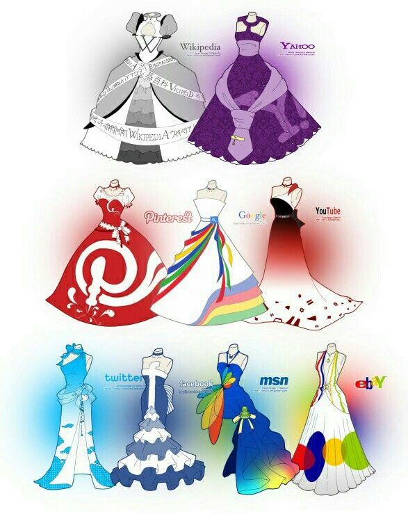I love the Facebook, Twitter, and Pinterest dresses ;0