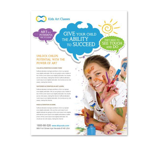 Kids Art Classes Flyer Template http://www.dlayouts.com ...