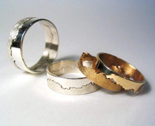 the join of the wedding ring is created from a stretch of coastline you choose yourself - Interlocking Wedding Rings