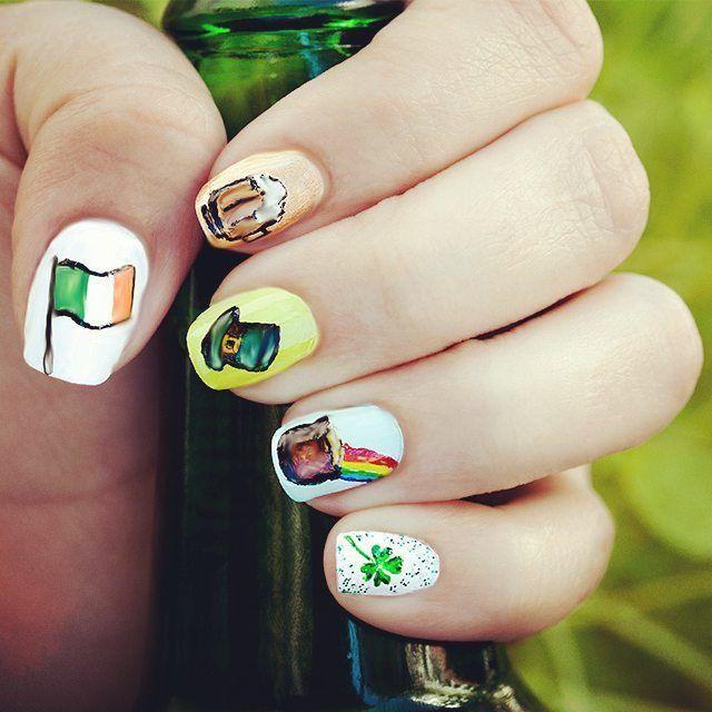 Happy St. Patricks Day everyone! #gdn #nails #stpatricksdaynails #stpatricksday #stpatrick #beer #goldtopf #kobold #kleeblatt #luck #welovenails #green #beernails #rainbow #ireland