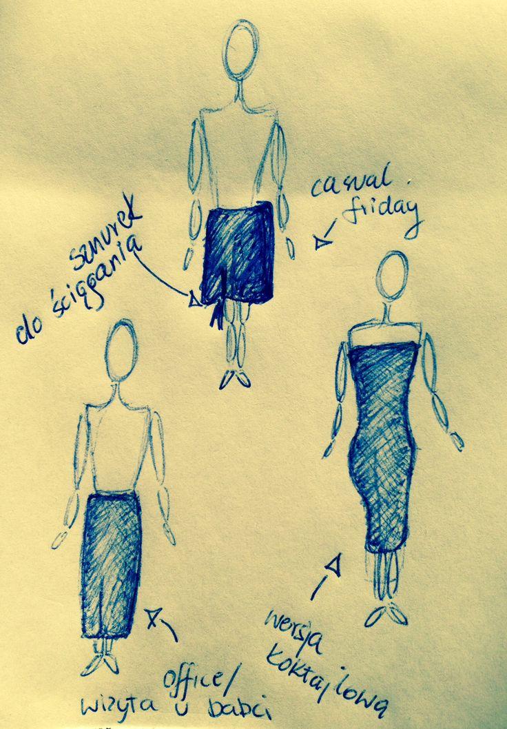 Sukienka 3 w 1, z dzianiny, dzięki specjalnemu sznurkowi można nosić ją jako niezobowiązującą krótką spódnicę, długą idealną na mieniny do babci, albo sukienkę nadającą się na wieczorną imprezę. #mnishkha #konkurs #polskidesign #polishfashion #polscyprojektanci #zostanprojektantem