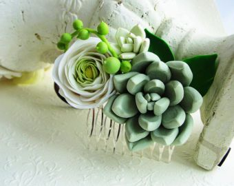 Green Succulent Comb Plants Arrangement Succulent Jewelry Wedding Birthday Wedding Bridal Bithday Gifts Succulent Style Flower Hair Piece