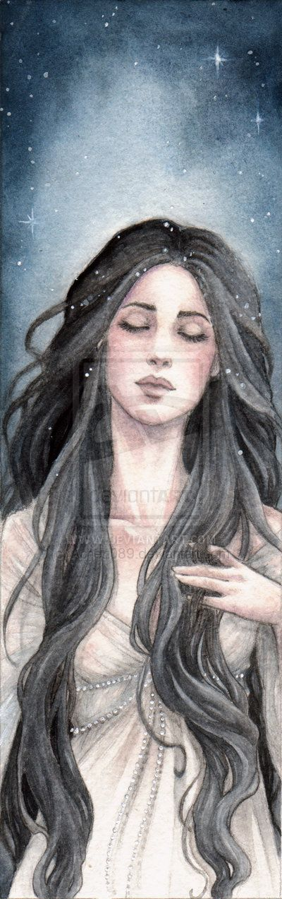 """Melian: """"Slender and very dark of hair, and her skin was white and pale, but her eyes shone seeming to hold great depths. Clad jet-spangled and girt with silver. If ever she sang or if ever she danced, dreams and slumbers passed over the heads of those that were nigh, making them heavy as it were with a strong wine of sleep."""" Presumably her ability of to weave sleep dreams came from her association with Lórien."""