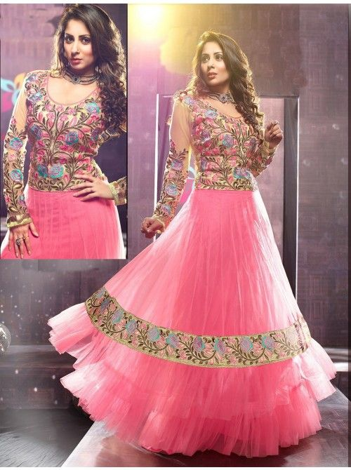 Buy this exclusive designer anarkali suit only At Rs2999  https://www.crazora.com/anarkali-suits/shudhi-light-pink-net-anarkali-suit-9440.html