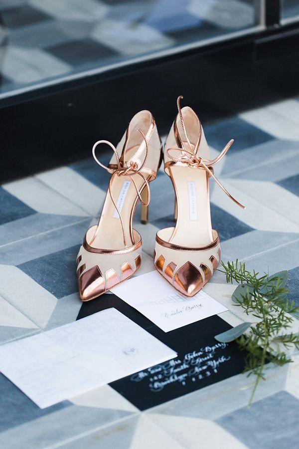 rose gold wedding shoes - photo by Julia Elizabeth Photography http://ruffledblog.com/old-charm-new-york-wedding-inspiration