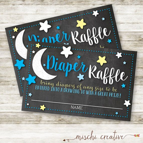These diaper raffle tickets are just perfect for your Love you to The Moon and Back party! I can coordinate the colors of these inserts to