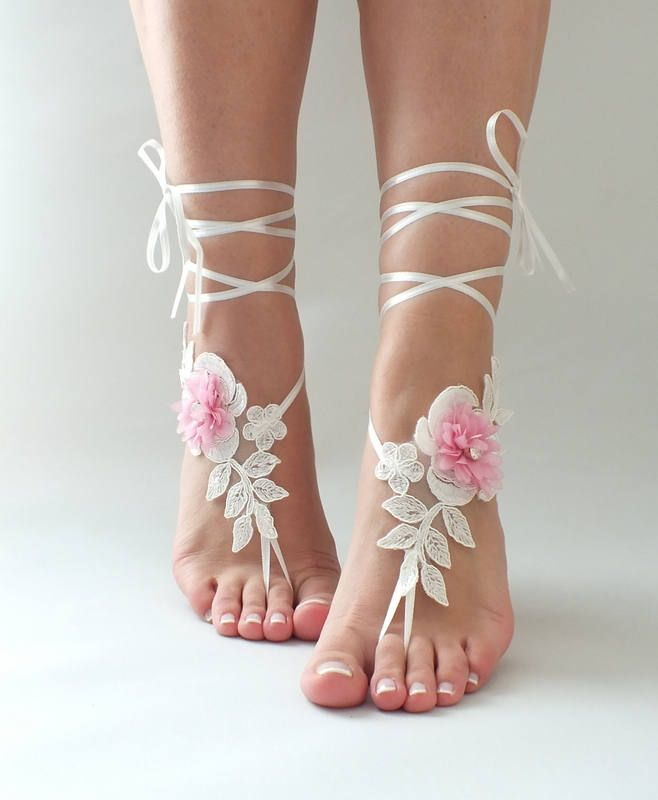 Ivory Pink Lace Barefoot Sandals Wedding Shoes Photography Beach