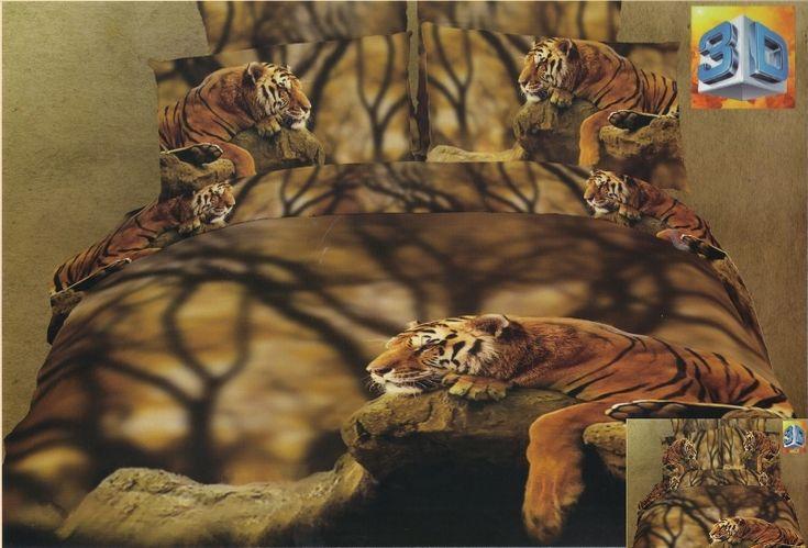 Pościel bawełniana w kolorze beżowym z tygrysami