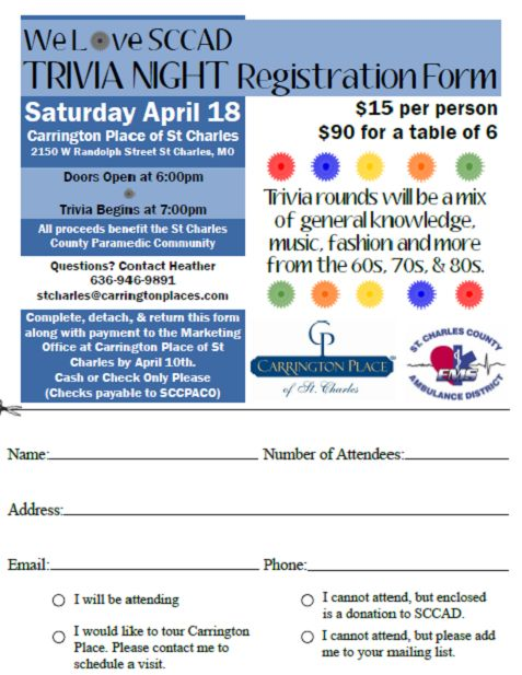 trivia night fundraiser registration form at Carrington Place of St Charles  April 2015