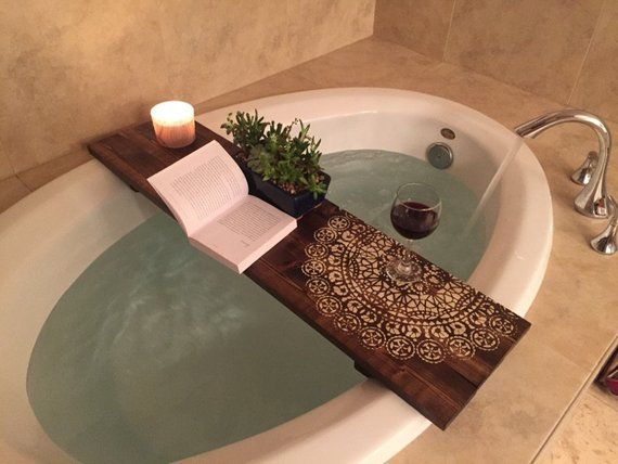 Mandala Bath Caddy Bathtub Tray Rustic Bathtub Caddy