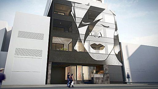 A giant image of Ziggy will dominate four levels of the 10 million Tatu building planned for Macquarie St. It will appear on a perforated metal screen and Bowie's eyes and lips will move when apartment residents adjust screens on their balconies. — heraldsun.com.au