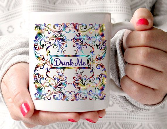 Alice In Wonderland Mug, Drink Me Mug, Psychedelic Scroll Mug, Statement Mug, Coffee Cup, Whimsical Mug, UK
