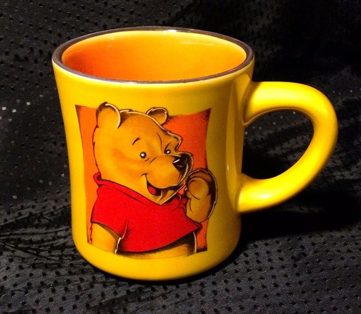 Disney WINNIE THE POOH Coffee Tea Cocoa Mug Cup 8oz Yellow with Orange Inside