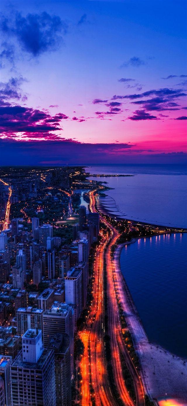 Chicago City Night Sky View Scape Ocean Beach Iphone X Wallpaper City Wallpaper Landscape Wallpaper City Aesthetic