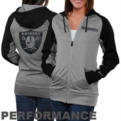 Nike Oakland Raiders Ladies Die-Hard Full Zip Performance Hoodie - Ash/Black #FanaticsWishList @Fanatics ®