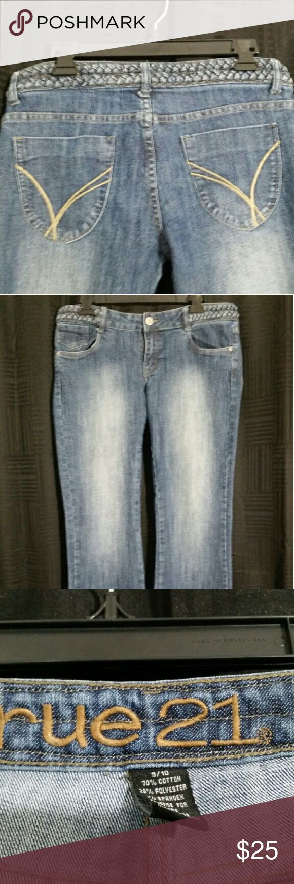 Rue 21 Womens Jeans 9/10 Blue Denim Boot Cut Nice braided waist feature. Rue 21 Jeans Boot Cut