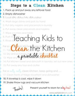 If your kids don't clean the kitchen you're missing out on a HUGE source of help! This printable chart empowers your kids to do the job- no nagging required!