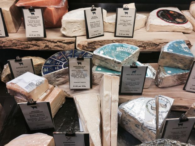 The cheese counter at Tebay Services, Cumbria, England.