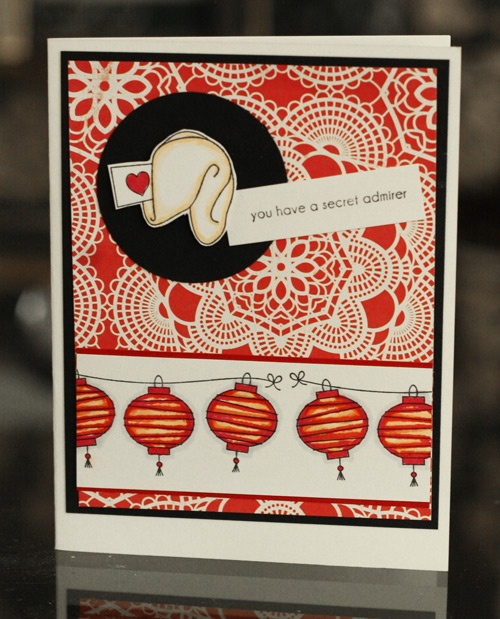 Fortune Cookie-inspired Valentine! Stamps used: Fortune Cookie and Lanterns. By Tricia Ulberg
