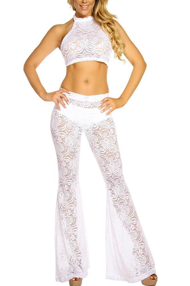 Lace Halter Top And Bell Bottom Pant Set LAVELIQ
