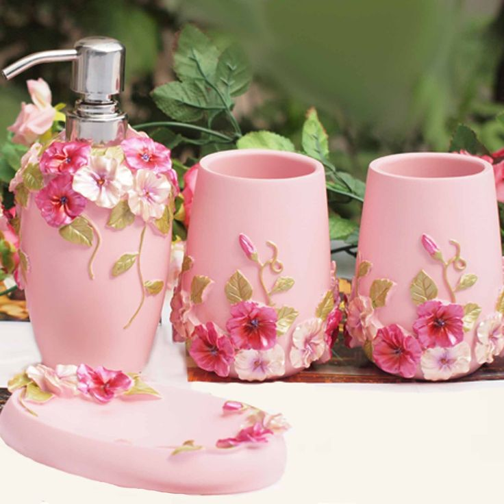 crystal bathroom accessories sets%0A Shabby Chic Pink Bathroom Set  pcs
