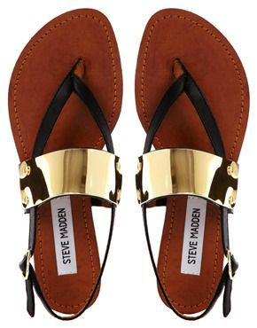 Steve Madden Cuff Toe Post Black Flat Sandals I have to have these for summer