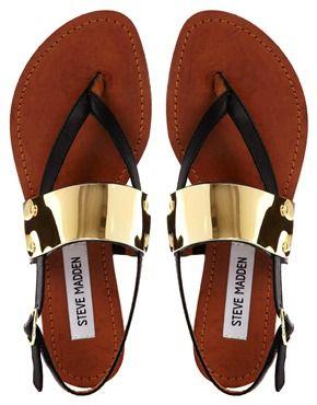 Steve Madden Cuff Toe Post Black Flat Sandals