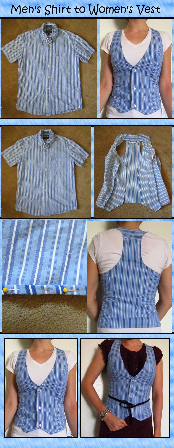 #Upcycle #Shirt to #Vest This shirt was headed to the D.I. This repurposed man shirt idea is one of the best I've yet to see.